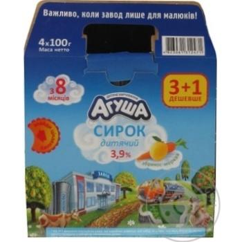 Творожок Агуша детский абрикос-морковь с 8 месяцев 3.9% 4х100г