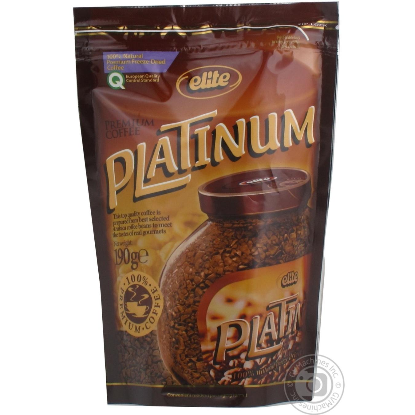 Natural instant sublimated coffee Elite Platinum 190g Russia