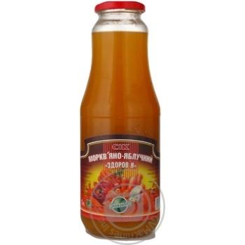 Сок Эко-фуд Здоровье морковно-яблочный с мякотью стеклянная бутылка 1000мл Украина