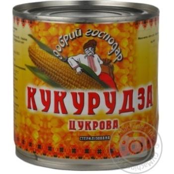 Овощи кукуруза Добрый господар сахарное консервированная 410г железная банка Украина