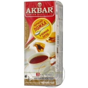 Черный чай Акбар цейлонский высокогорный в пакетиках 25х2г