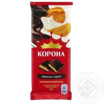 Шоколад чорний Корона з абрикосовою та кремовою начинкою 85г - купити, ціни на ЕКО Маркет - фото 1
