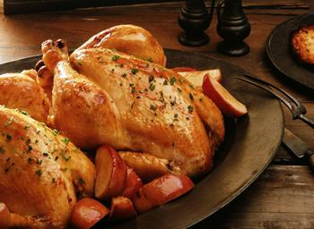 Курица запеченная в хрустящей корочке, с имбирем и апельсинами