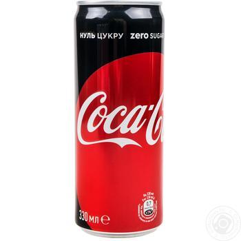Напиток Coca-Cola Zero сильногазированный ж/б 0,33л
