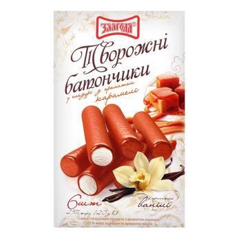 Творожні батончики Злагода глазуровані з ароматом карамелі та ванілі 6шт 23% 120г - купити, ціни на CітіМаркет - фото 1