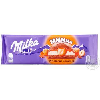 Шоколад молочный Milka с молочной и карамельной начинками и обжаренным цельным фундуком 300г - купить, цены на Таврия В - фото 1