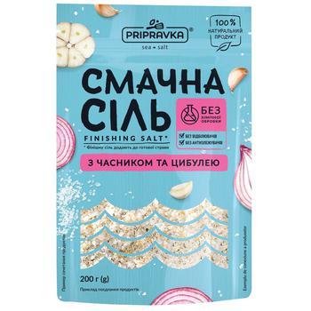 Вкусная соль Приправка морская с чесноком и луком 200г - купить, цены на СитиМаркет - фото 1