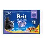 Влажный корм для кошек Brit Premium Cat Fish Plate pouches ассорти из 2 вкусов Рыбная тарелка 400г