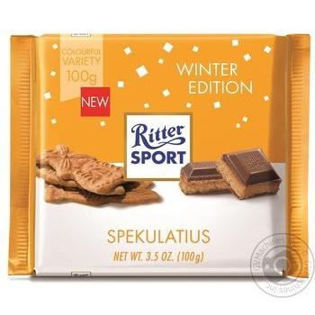 Шоколад молочний Ritter sport з начинкою імбирного печива та какао-крем 100г