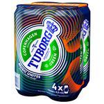 Tuborg Green Light Pasteurized Beer 4.6% 4pcs 0,5l