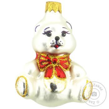 Игрушка елочная Медвеженок стеклянная - купить, цены на Фуршет - фото 1