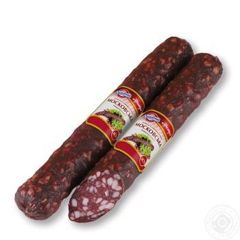 Sausage moscow Yuvileyniy premium pork raw smoked vacuum packing