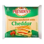 Сир плавлений President cheddar для сендвічів 120г