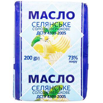 Масло Селянське сладкосливочное 73% 200г