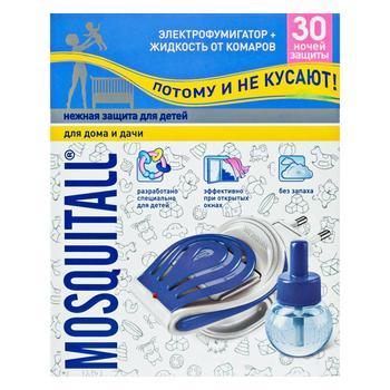 Комплект MOSQUITALL Ніжний захист від комарів електрофумігатор + рідина 30 ночей 30мл