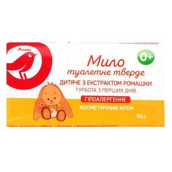 Мыло Ашан детское гипоаллергенное с экстрактом ромашки 90г - купить, цены на Ашан - фото 1