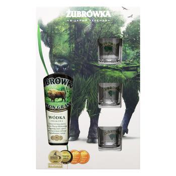 Напій алкогольний Zubrowka Bizon Grass 37,5% 0,7л + 3стопки