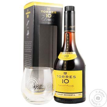 Бренди  Torres Gran Reserva 10 лет 38% 0.7л + стакан