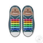 Шнурки силіконові AntiLaces Stars, 56,5мм, 12шт, різнокольорові