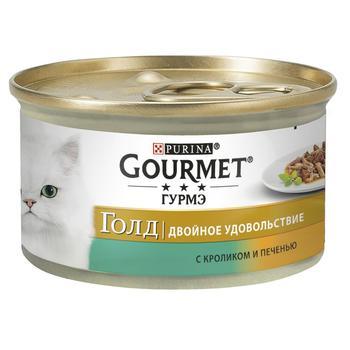 Корм Gourmet Gold Duo С кроликом и печенью для взрослых кошек 85г - купить, цены на ЕКО Маркет - фото 1