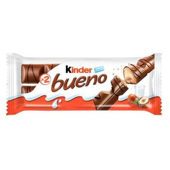 Вафли Kinder Bueno с молочно-ореховой начинкой покрытые молочным шоколадом 43г