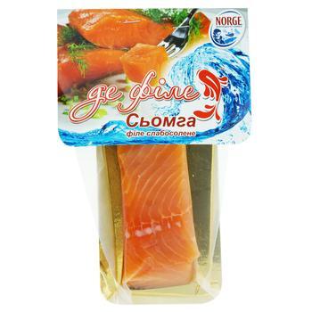 Сьомга Де філе солена шматок 125г - купити, ціни на Фуршет - фото 1
