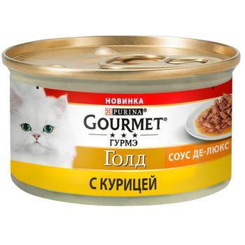 Корм Gourmet Gold Соус Де-люкс с курицей для взрослых кошек 85г