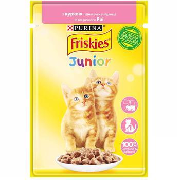 Корм для котят Friskies Junior с курицей кусочки в подливке 85г