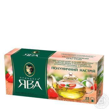 Green pekoe tea Princess Java Strawberry Mood with strawberry pieces 25х1.5g teabags Ukraine - buy, prices for CityMarket - photo 1