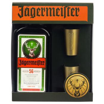 Ликер Jagermeister 35% 0,7л+ 2 склянки набор подарочный