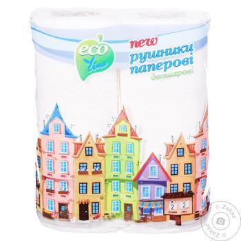 Полотенце бумажное Eco Line двухслойное 2шт - купить, цены на Таврия В - фото 1