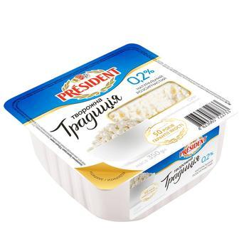 Сир кисломолочний President Творожна традиція нежирний 0,2% 350г - купити, ціни на CітіМаркет - фото 1