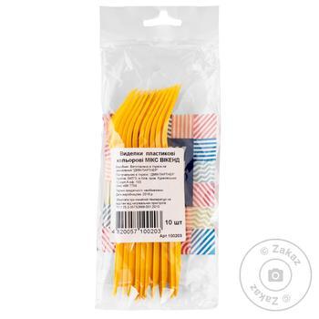 Виделки пластикові кольорові Мікс Вікенд 10шт - купити, ціни на Novus - фото 1