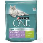 Корм сухой Purina ONE Sensitive С индейкой и рисом для взрослых котов 800г
