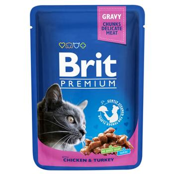 Brit Premium Canned Food with Chicken and Turkey for Cats 100g - buy, prices for CityMarket - photo 1