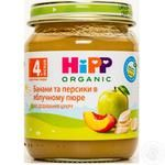 Пюре ХиПП Бананы и персики в яблочном пюре без сахара для детей с 4 месяцев 125г