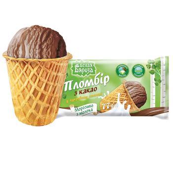 Морозиво Белая бяроза пломбір шоколадний у цукровому стакані 70г