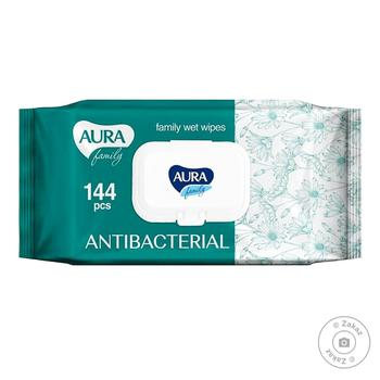 Aura Family Wet Napkins with Antibacterial Effect with Valve 144pcs