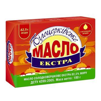 Масло вершкове Білоцерківське екстра 82,5% 180г - купити, ціни на Восторг - фото 1