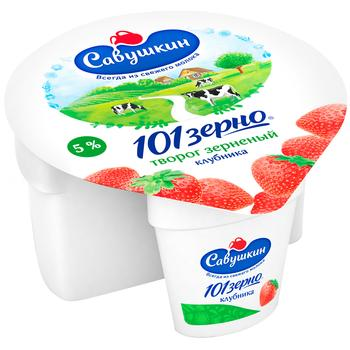 Grainy cottage cheese Savushkin product 101 grains+cream 5% 105g + strawberry filling 25g plastic cup Belarus - buy, prices for CityMarket - photo 1