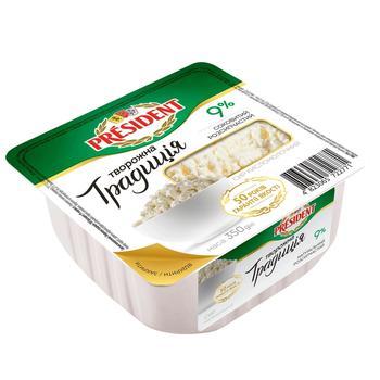 Сир кисломолочний President Творожна традиція 9% 350г - купити, ціни на Метро - фото 1