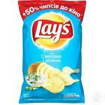 Чіпси Lay's зі смаком сметани та зелені 200г