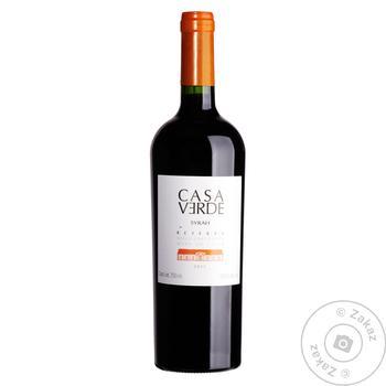 Вино Casa Verde Reserva Syrah червоне сухе 13,5 % 0,75л - купити, ціни на Ашан - фото 1