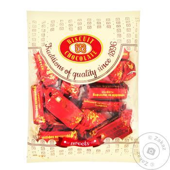 Цукерки Бісквіт-Шоколад глазуровані вафельні на фруктозі 200г - купити, ціни на ЕКО Маркет - фото 1