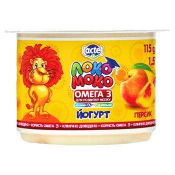 Йогурт Lactel Локо Моко персик, збагачений кальцієм, омега 3 та вітаміном D3 1,5% 115г