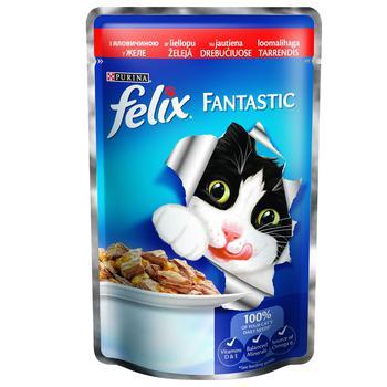 Корм Felix Fantastic С говядиной в желе для взрослых котов 100г