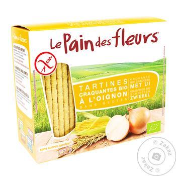 Хлебцы Le Pain des fleurs с луком органические безглютеновые 150г - купить, цены на Ашан - фото 1