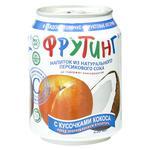 Напиток Фрутинг с соком персика и кусочками кокоса железная банка 238мл Россия
