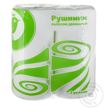 Рушники паперові Ашан двошарові 2шт