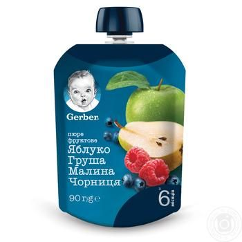 Пюре Gerber Яблоко груша малина черника для детей с 6 месяцев 90г